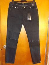"D-Struct 'Buena suerte' Algodón Rico Skinny Jeans Con Estirar W34"" L31"" Negro BNWT"
