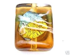 20 Topaz Gold Foiled Lampwork Glass 15x12x6mm Beads