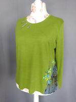 T- shirts Femme LEWINGER laine jacquard Vintage 90 Taille FR48 US16 UK20 EUR46