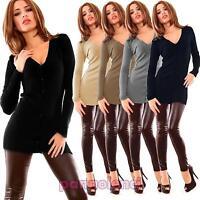 Cardigan pullover lungo maglione donna scollo V miniabito bottoni nuovo FZ-9327B