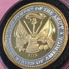 Gold Gilded Department Of The Army 1 Troy Oz .999 Fine Silver Round Proof Coin