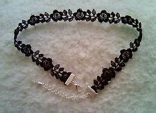 Black Flower Guipure Lace Choker Necklace Silver Plated Fastenings Gothic Rose