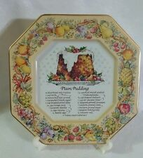 """Vintage Avon 1982 Octagon 7"""" Tin Plum Pudding Recipe Plate Tray Made In England"""