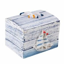Small Mediterranean-style Jewelry Storage Wood Box with Smooth Sailing Pattern