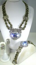 "HEIDI DAUS ""CHAIN OF EVENTS"" NECKLACE, BRACELET & EARRINGS 3pc SET - CLEAR"
