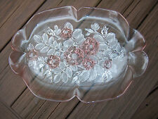 BEAUTIFUL VTG 80'S Sturdy Mikasa ROSELLA  Crystal Platter Dish Frosted Pink Rose