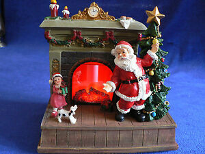 Lenox Santa Scene LED Christmas Fireplace w/ LED Timer  & Box