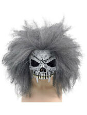 Adult Skull Voodoo Man Latex Rubber Half Mask & Hair Fancy Dress Evil Accessory