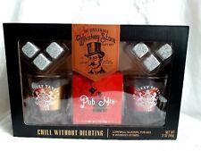 Gentlemen's Whisky Stone Gift Set w lowball glasses, pub mix, whisky stones NEW