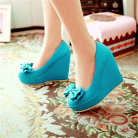 Women's Wedge High Heels Platform Casual Shoes Fashion Candy Color Bow Pumps