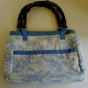 All About You Cloth Purse Wooden Handle Blue White Toile Custom French Country