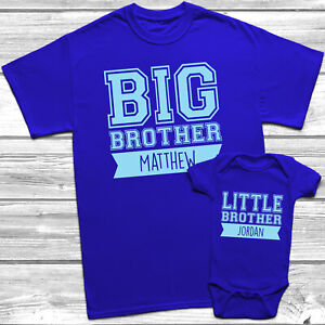 Personalised Big Brother Little Brother T-Shirt Kids Baby Grow Brothers Outfits