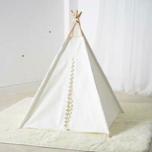 White Canvas Pom Pom Teepee