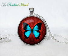 Butterfly Turquoise Red Aqua Tibet silver Cabochon glass pendant chain Necklace