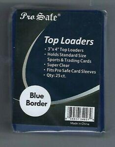 (100) Pro Safe Blue Border Card Topload Card Holder  & 100 Sleeves