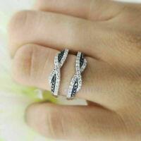 1Ct Round Black & White Diamond Wedding Enhancer Ring Guard 14k White Gold Over