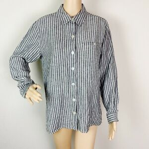 Chico's Linen Blouse Top Shirt Size 1 Gray White Striped Button Down Long Sleeve