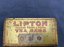 VINTAGE LIPTON ORANGE PEKOE AND PEKOE TEA BAGS EMPTY TIN