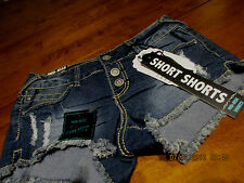 WOMENS/JR jeans size 3 SHORT SHORTS destructed BLING $34.00 REBEL BY RIGHT