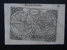 1609 LANGENES  Atlas Hondius  WORLD map  LE GLOBE TERRESTRE - IEHOVA