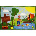 Fun Rug FT-15 1929 19 x 29 in. Fun Time - Gone Fishing Medium Pile Childrens ...