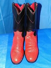 JUSTINS WOMENS LEATHER RED AND BLACK COWBOY WESTERN BOOT SIZE 6B
