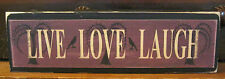 Live Love Laugh Primitive Rustic Wooden Sign Block Shelf Sitter