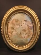 "Antique Oval Wood Frame - 13""x11"" - Print of Wilson's Heads of Angels"