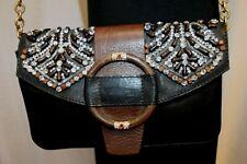 Valentino Chain Ebony Beaded Embellished Shoulder Bag Clutch Evening Purse $2295
