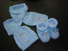 Baby Boy Owl Hat, Scarf & Booties Handmade Knitted Blue 3-6 Month Accept Orders