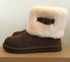 UGG Womens Size 7 Ellee Chocolate Brown Winter Boots Sheepskin Buckle 1002741