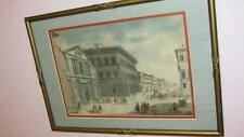 BEAUTIFUL ANTIQUE HAND COLORED LITHOGRAPH PICTURE UNIQUE WOODEN FRAME LOOK!