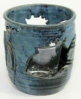 Studio Art Pottery Votive/Candle Holder, Blue, Fish Cutouts Signed S G, 5""
