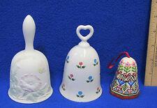 Bell Porcelain Morning Glory Butterfly Design Ceramic Japan Floral Design 3 Lot