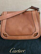 Original Cartier Leder Tasche Damentasche Handtasche Wildleder Cognac Vintage