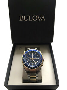 Bulova Mens Two Tone Gold Chronograph Watch 98B230