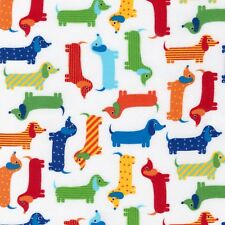 Fabric Dachshunds Primary on White Flannel by the 1/4 yard BIN