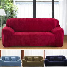 1-4Seater Sofa Covers Plush Velvet Fit Stretch Protector Couch Cover Solid Color