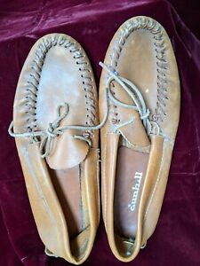 Mens size 11 Moccasins tan stitched leather w vulcan sole by dunhill vintage
