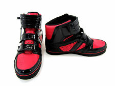 Luxury Kicks Shoes Fashion Straps Hi Black/Red Sneakers Size 10.5