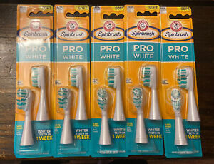 Lot of 4 pks- Arm & Hammer Spinbrush Replacement Toothbrush Heads Pro White Soft