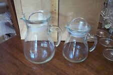51e06bc10c47 2 Cerve Italy Clear Glass Handled Decanters   Syrup Containers w  Lids