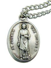 "St Joseph the Worker Medal Patron Saint Metal Pendant 3/4""L w/ Chain from Italy"