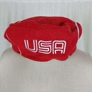 NEW 2006 Roots USA Torino Olympics Beret Hat Red Fleece Adjustable L/XL NWT