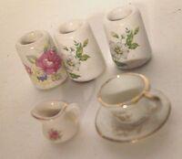 "6 pcs Dolls House Ceramic Vases 1"" Tall Tea Cup & Saucer Creamer"