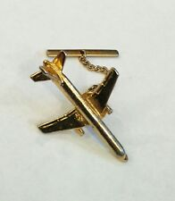 BOEING 767 GOLD PLATED TIE PIN WITH T BAR CHAIN
