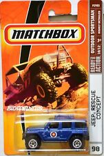 MATCHBOX 2008 OUTDOOR SPORTSMAN JEEP RESCUE CONCEPT #98 BLUE W+