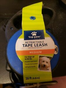 Top Paw Retractable tape Dog Leash Medium 16ft. Blue - NEW up to 80 lbs