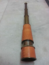 "Nautical Telescope 18"" ~W/ Leather sheathed~Spyglass Maritime Brass W/Antiq-Fini"