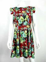 Max C London UK 12 Purple Green Floral Pattern Tea dress